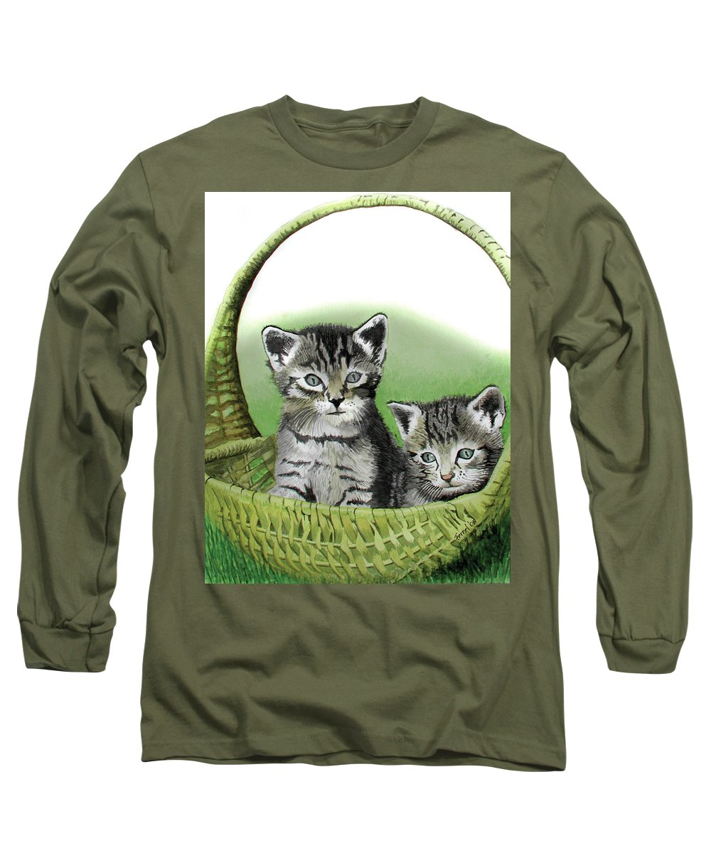Cat Long Sleeve T-Shirt featuring the painting Kitty Caddy by Ferrel Cordle