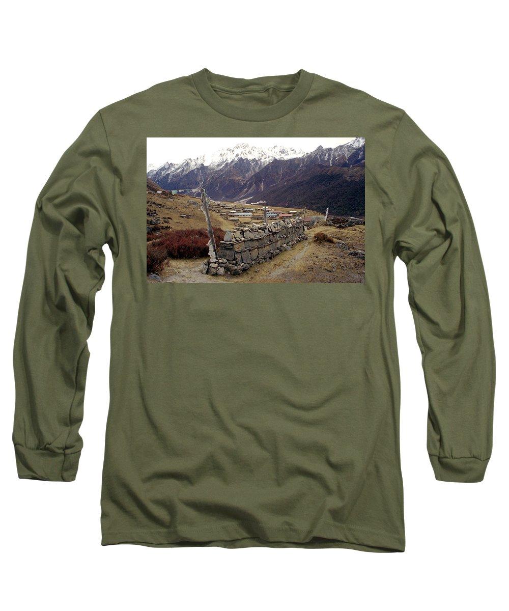Langtang Long Sleeve T-Shirt featuring the photograph Kyanjin Gompa by Patrick Klauss