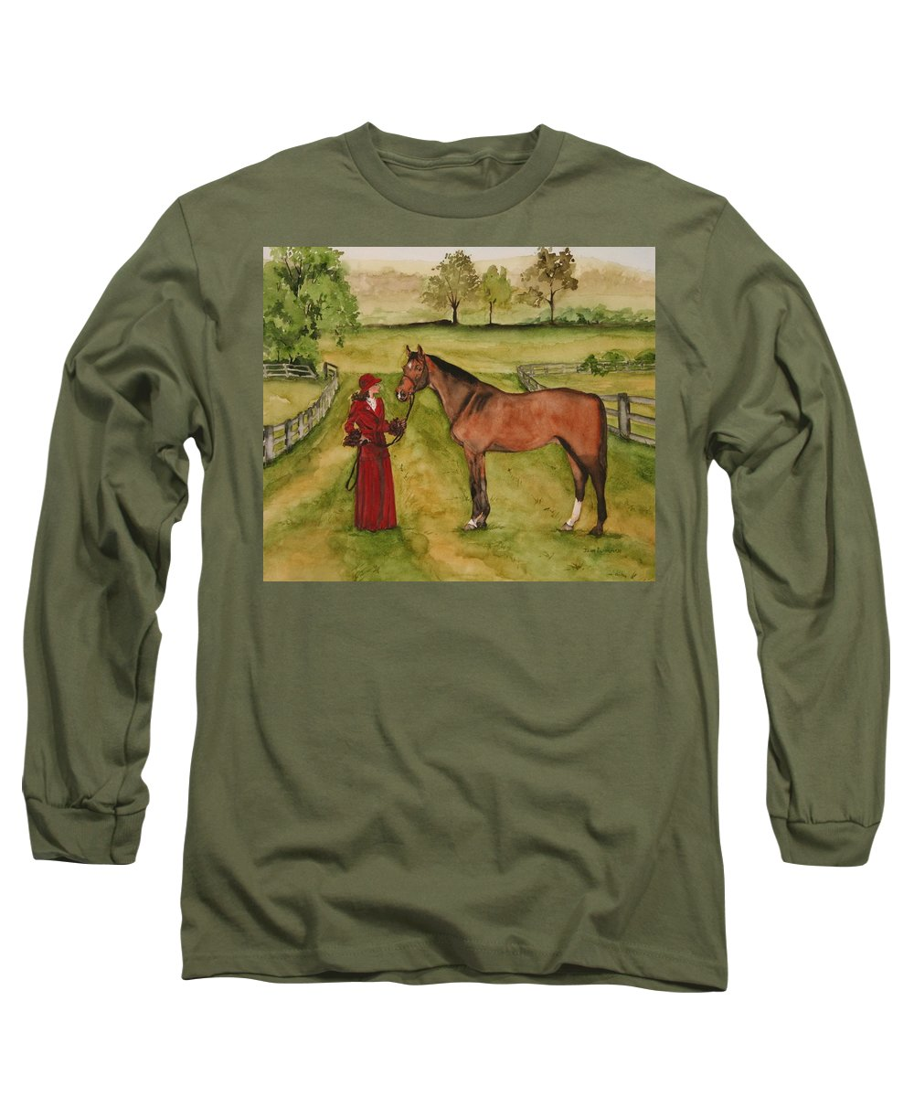 Horse Long Sleeve T-Shirt featuring the painting Lady And Horse by Jean Blackmer