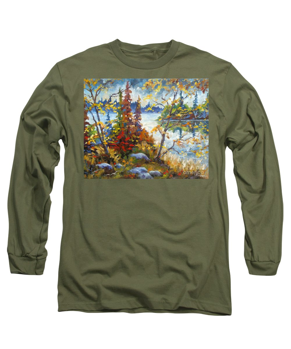 Trees Long Sleeve T-Shirt featuring the painting Lake Cartier by Richard T Pranke