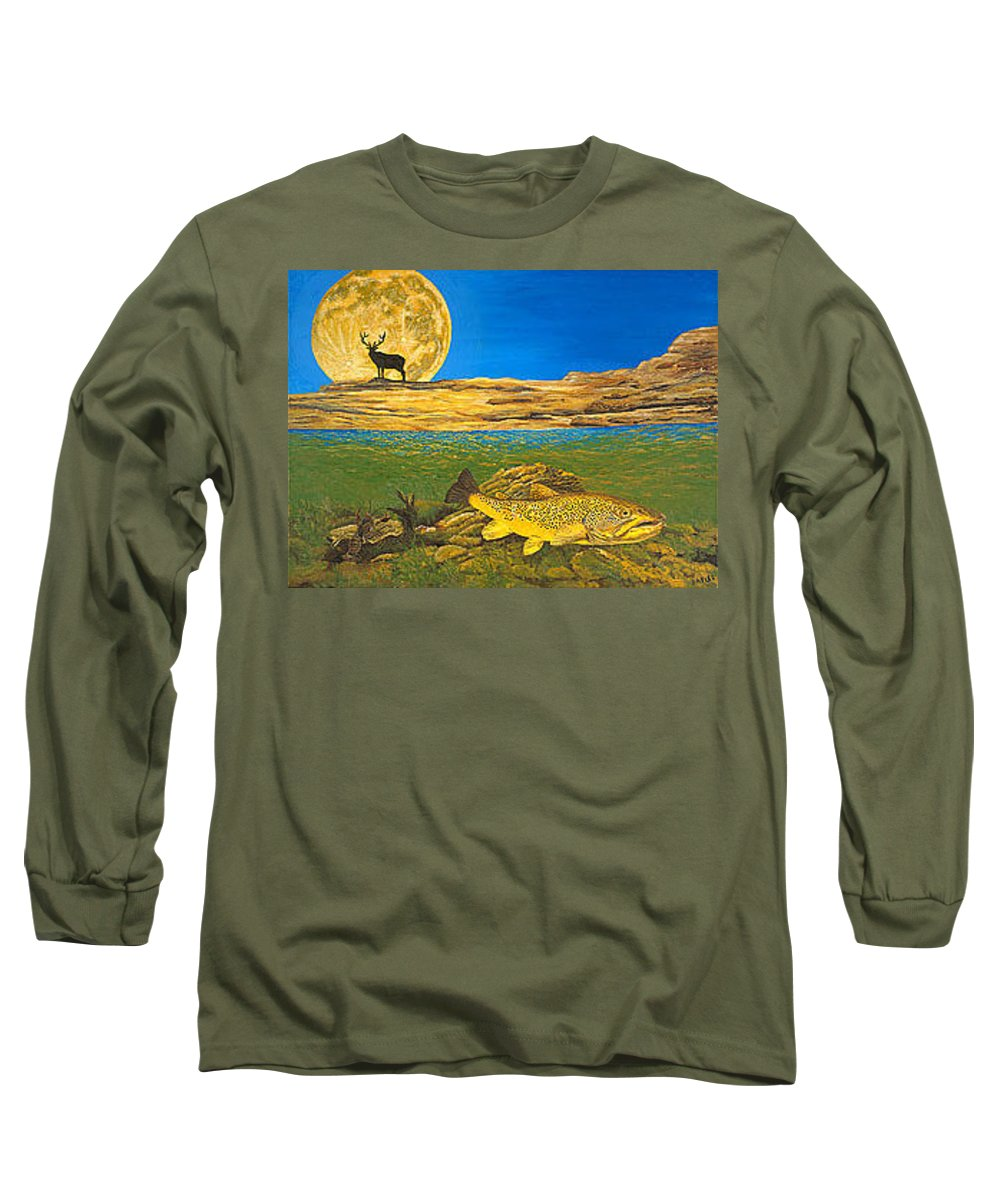 Artwork Long Sleeve T-Shirt featuring the painting Landscape Art Fish Art Brown Trout Timing Bull Elk Full Moon Nature Contemporary Modern Decor by Baslee Troutman