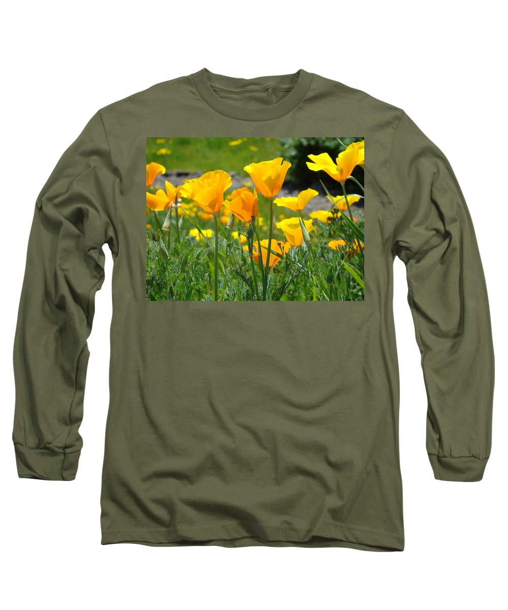 �poppies Artwork� Long Sleeve T-Shirt featuring the photograph Landscape Poppy Flowers 5 Orange Poppies Hillside Meadow Art by Baslee Troutman