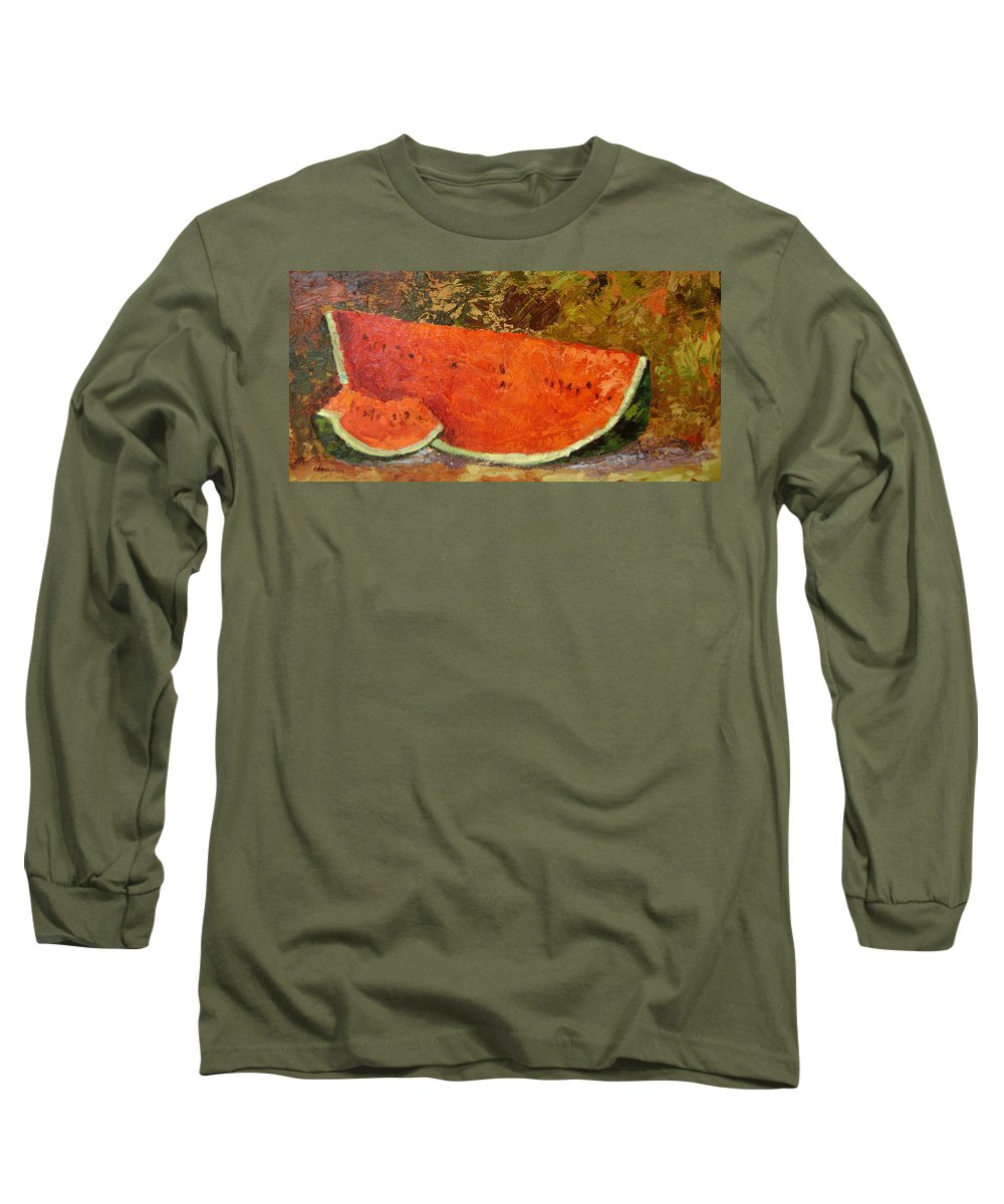 Watermelon Long Sleeve T-Shirt featuring the painting Last Of Summer by Ginger Concepcion