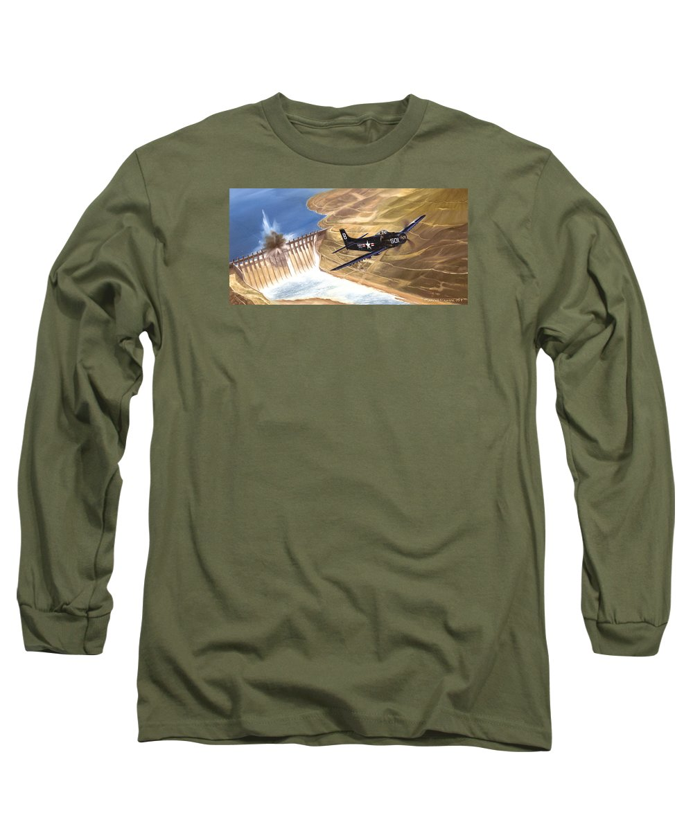 Military Long Sleeve T-Shirt featuring the painting Last Of The Dambusters by Marc Stewart