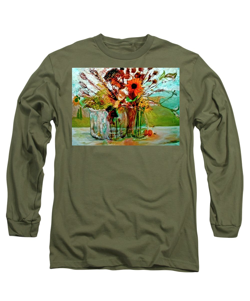 Flowers Jar Glass Thistle Picnic Green Lemon Rose Long Sleeve T-Shirt featuring the painting Late Summer by Jack Diamond