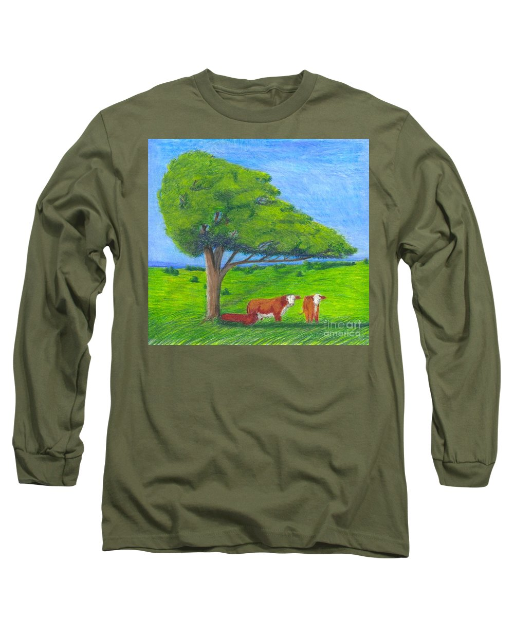 Cattle Long Sleeve T-Shirt featuring the pastel Leisure Time by Mendy Pedersen