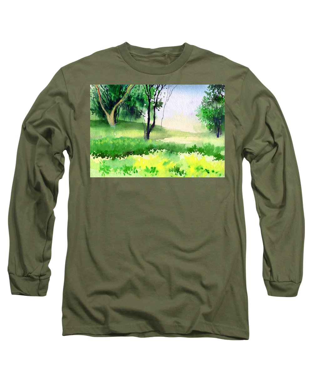 Watercolor Long Sleeve T-Shirt featuring the painting Let's Go For A Walk by Anil Nene