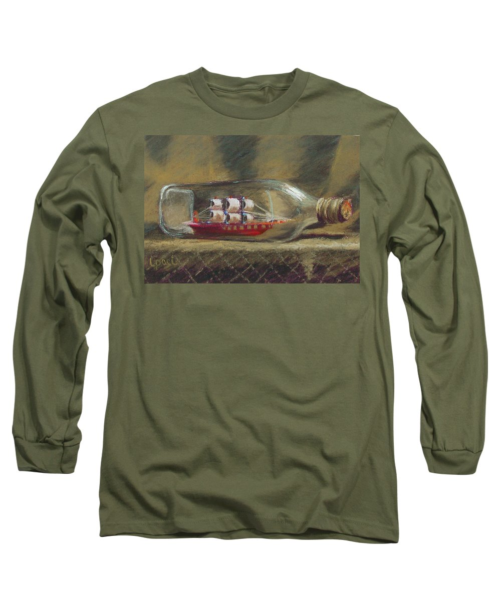 Ship In A Bottle Long Sleeve T-Shirt featuring the painting Life In A Bottle by Laurie Paci