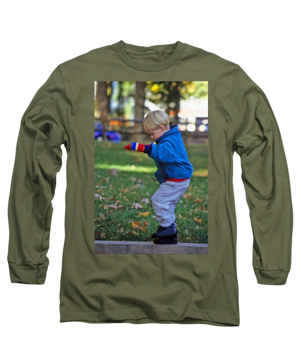 Boy Balancing Long Sleeve T-Shirt featuring the photograph Life In Perfect Balance by Laurie Paci