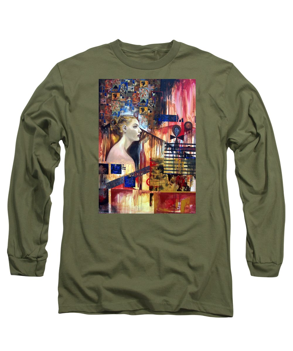 Profile Of A Woman Long Sleeve T-Shirt featuring the painting Life In The Past by Leyla Munteanu