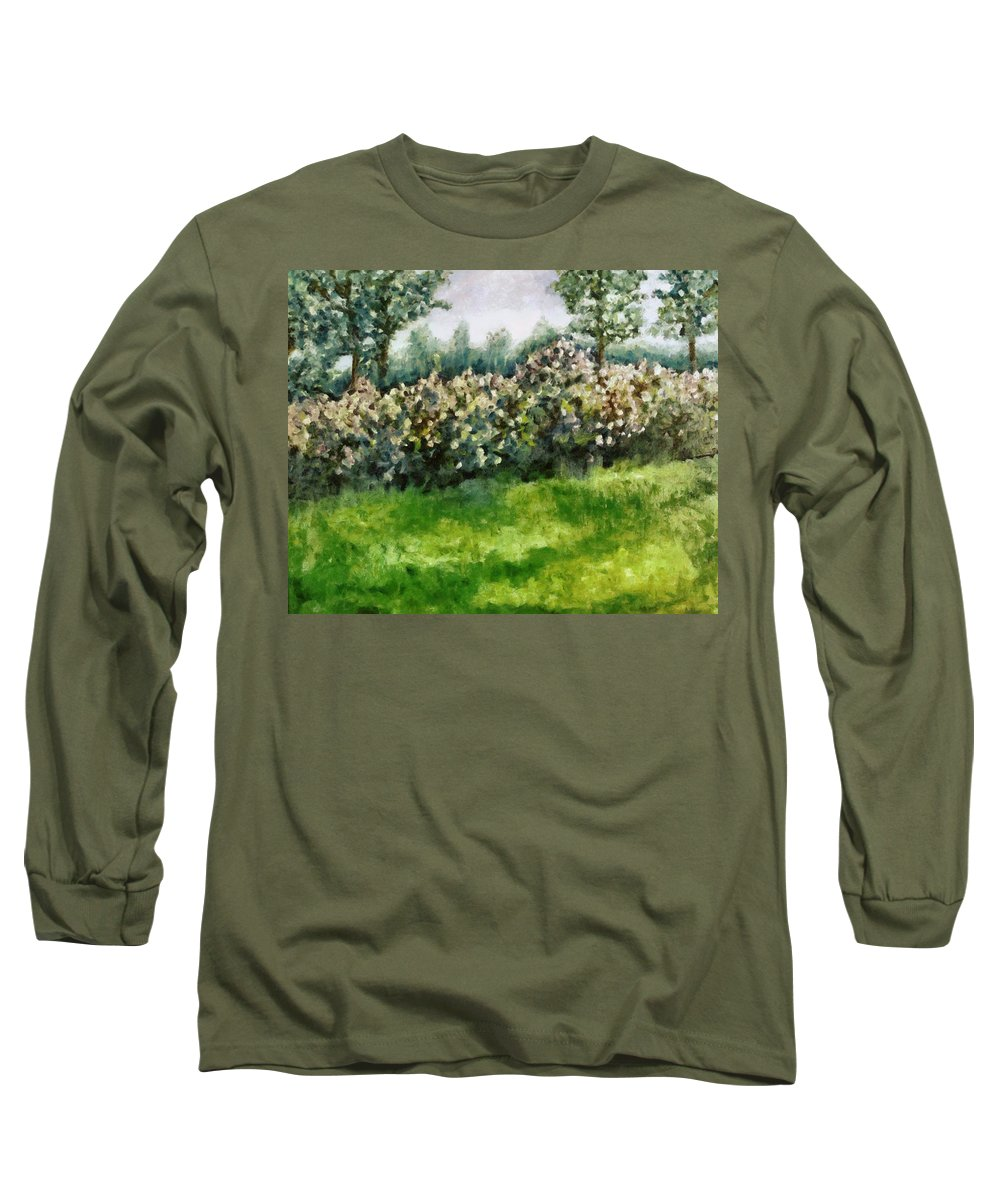 Spring Long Sleeve T-Shirt featuring the painting Lilac Bushes In Springtime by Michelle Calkins
