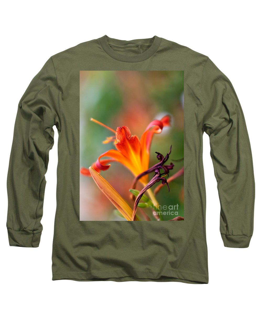 Lilium Long Sleeve T-Shirt featuring the photograph Lilly Flowers by Nailia Schwarz