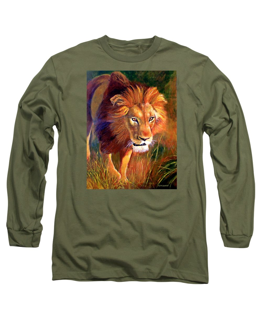 Lion Long Sleeve T-Shirt featuring the painting Lion At Sunset by Michael Durst