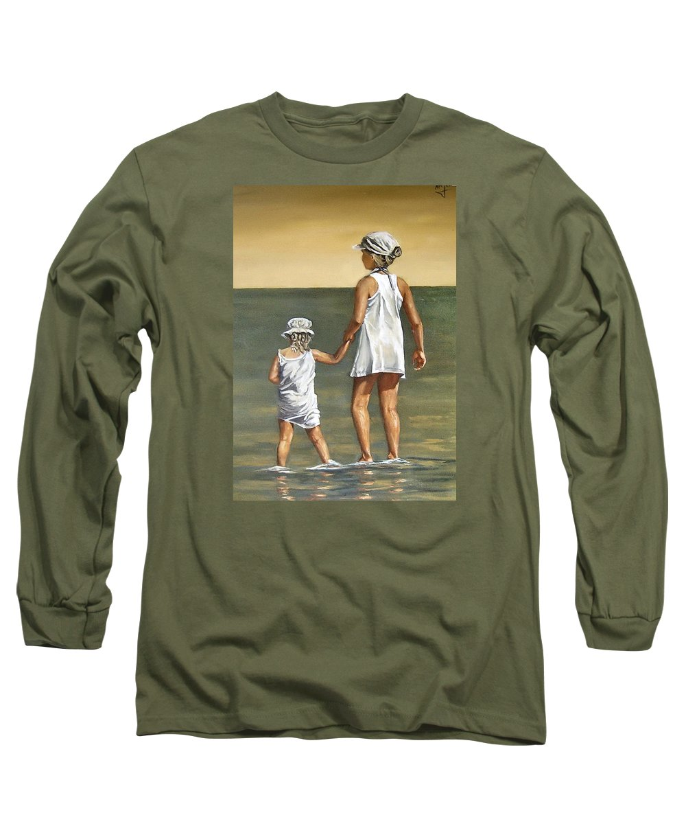 Little Girl Reflection Girls Kids Figurative Water Sea Seascape Children Portrait Long Sleeve T-Shirt featuring the painting Little Sisters by Natalia Tejera