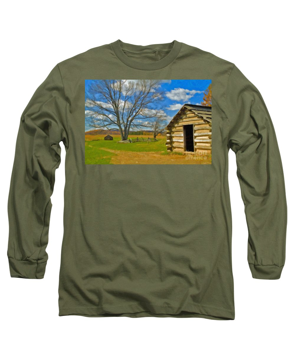 Valley Forge Long Sleeve T-Shirt featuring the photograph Log Cabin Valley Forge Pa by David Zanzinger