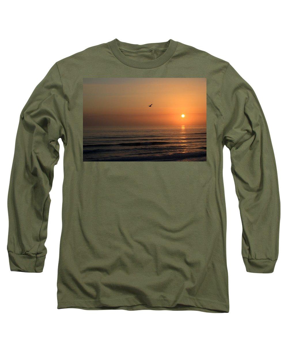 Bird Fly Flight Gull Alone Sun Sunrise Sky Ocean Wave Reflection Nature Golden Gold Long Sleeve T-Shirt featuring the photograph Lonely Flight by Andrei Shliakhau