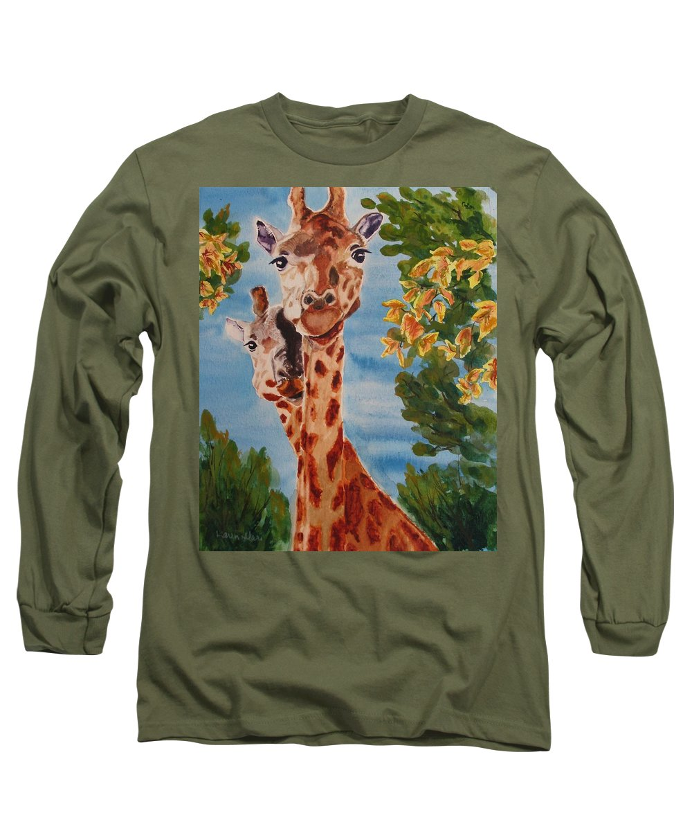 Giraffes Long Sleeve T-Shirt featuring the painting Lookin Back by Karen Ilari