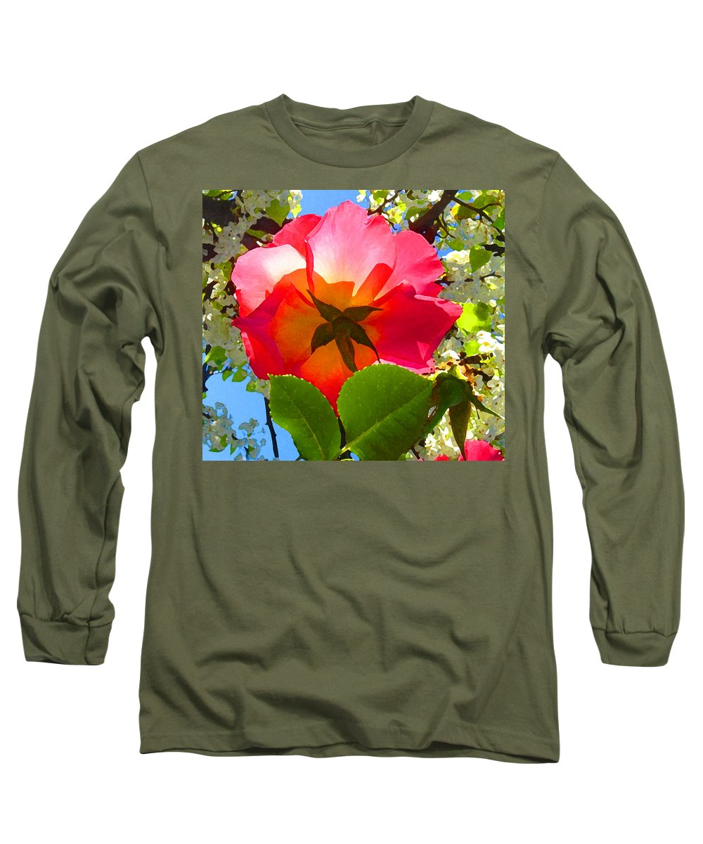 Roses Long Sleeve T-Shirt featuring the photograph Looking Up At Rose And Tree by Amy Vangsgard