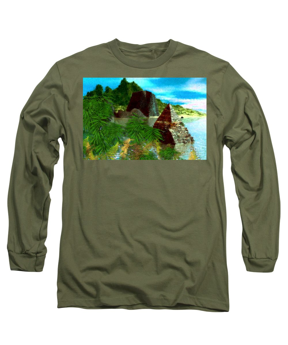 Digital Fantasy Painting Long Sleeve T-Shirt featuring the digital art Lost City by David Lane