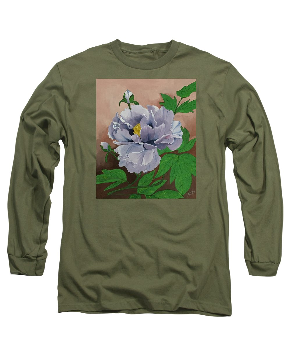 Flower Long Sleeve T-Shirt featuring the drawing Lovely Peony Flower With Buds by Pushpa Sharma