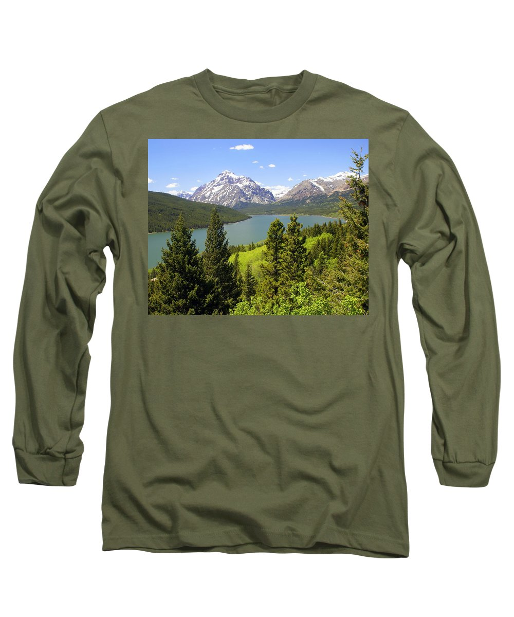 Two Medicine Lake Long Sleeve T-Shirt featuring the photograph Lower Two Medicine Lake by Marty Koch
