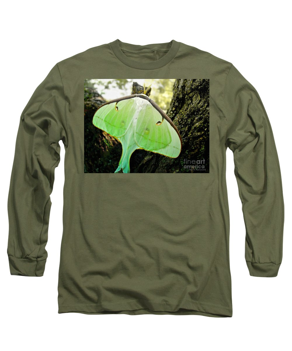 Macro Long Sleeve T-Shirt featuring the photograph Luna Moth No. 3 by Todd Blanchard