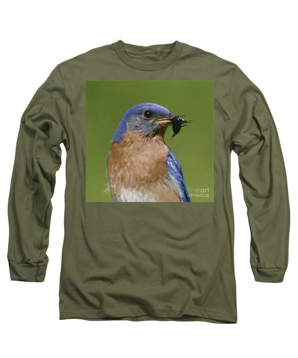Blue Bird Long Sleeve T-Shirt featuring the photograph Lunch Time Blues by Robert Pearson