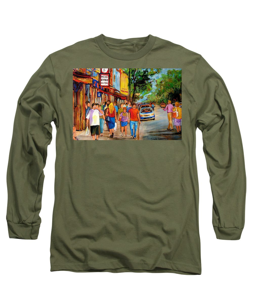 Montreal Streetscenes Long Sleeve T-Shirt featuring the painting Lunchtime On Mainstreet by Carole Spandau