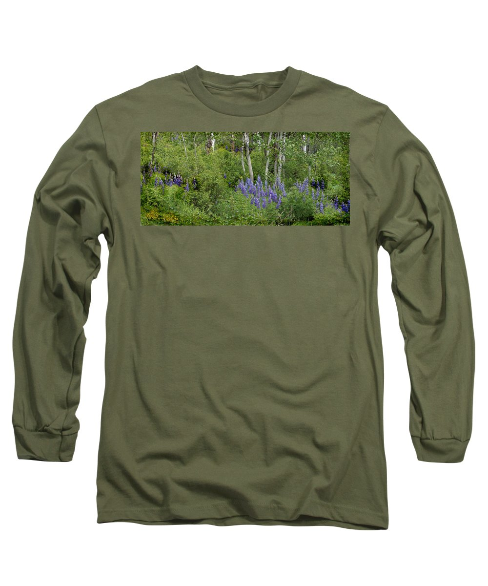 Aspen Long Sleeve T-Shirt featuring the photograph Lupine And Aspens by Heather Coen