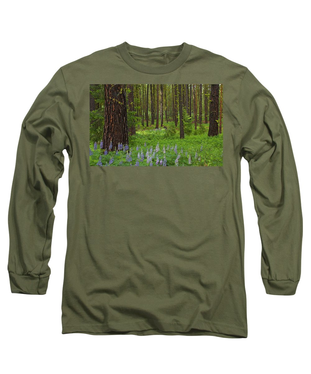 Forest Long Sleeve T-Shirt featuring the photograph Lupine Carpet by Mike Dawson