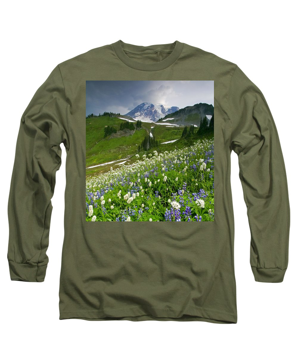 Rainier Long Sleeve T-Shirt featuring the photograph Lupine Storm by Mike Dawson