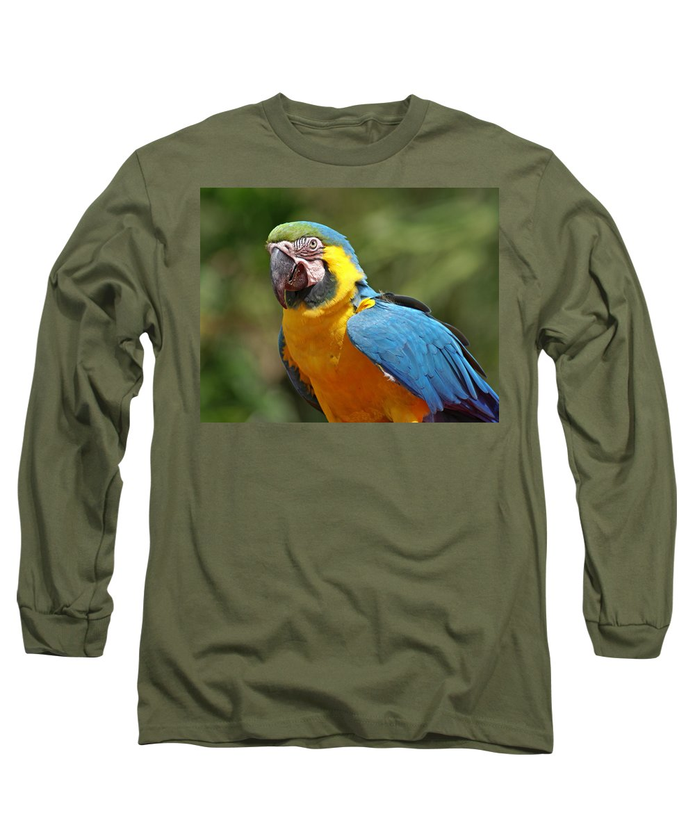 Parrot Long Sleeve T-Shirt featuring the photograph Macaw by Heather Coen