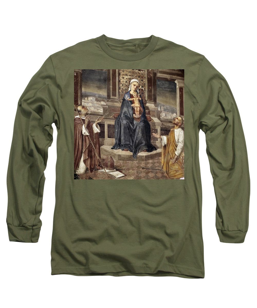 Italy Italian Mary Jesus Men Fresco Religious Religion Paint Painted Old Ancient Catholic Long Sleeve T-Shirt featuring the photograph Mary And Baby Jesus by Marilyn Hunt