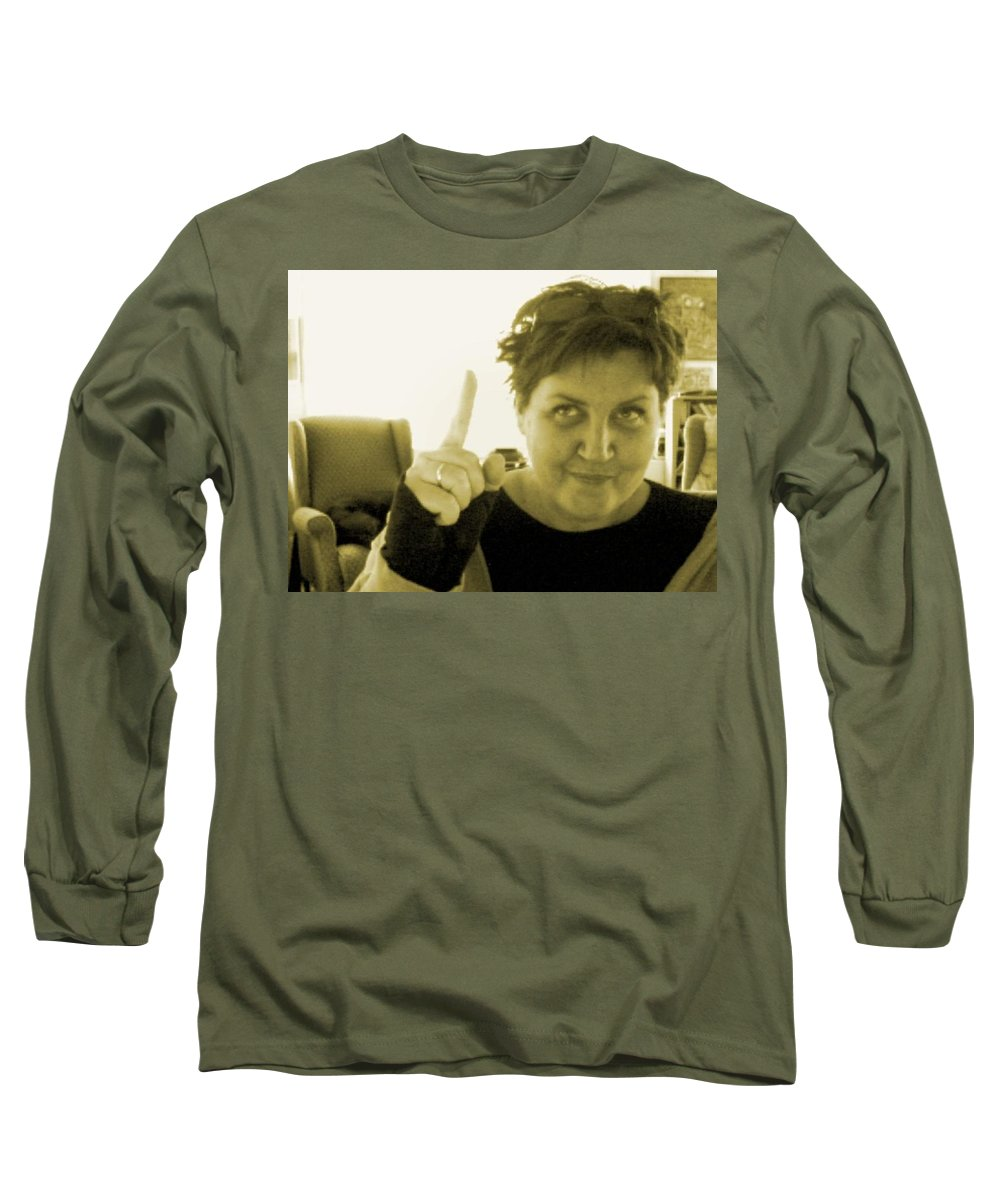 Long Sleeve T-Shirt featuring the pyrography me by Veronica Jackson
