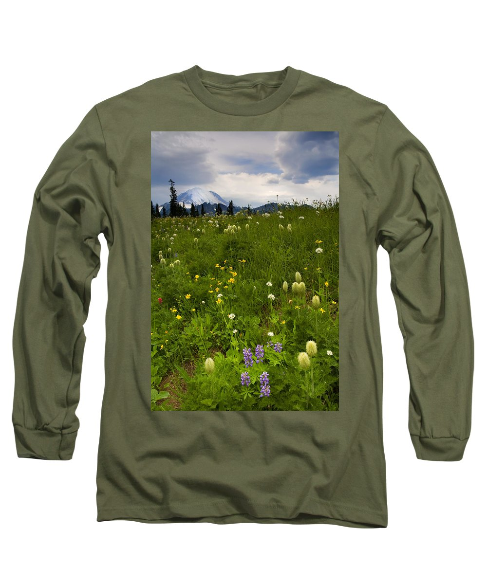 Rainier Long Sleeve T-Shirt featuring the photograph Meadow Beneath The Storm by Mike Dawson