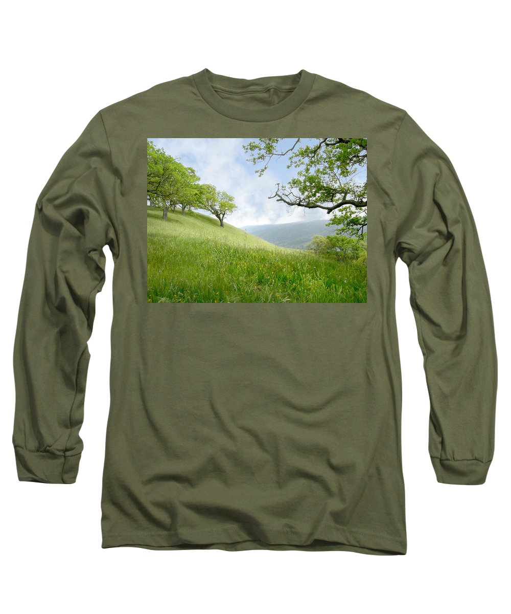 Landscape Long Sleeve T-Shirt featuring the photograph Meadow View Spring by Karen W Meyer