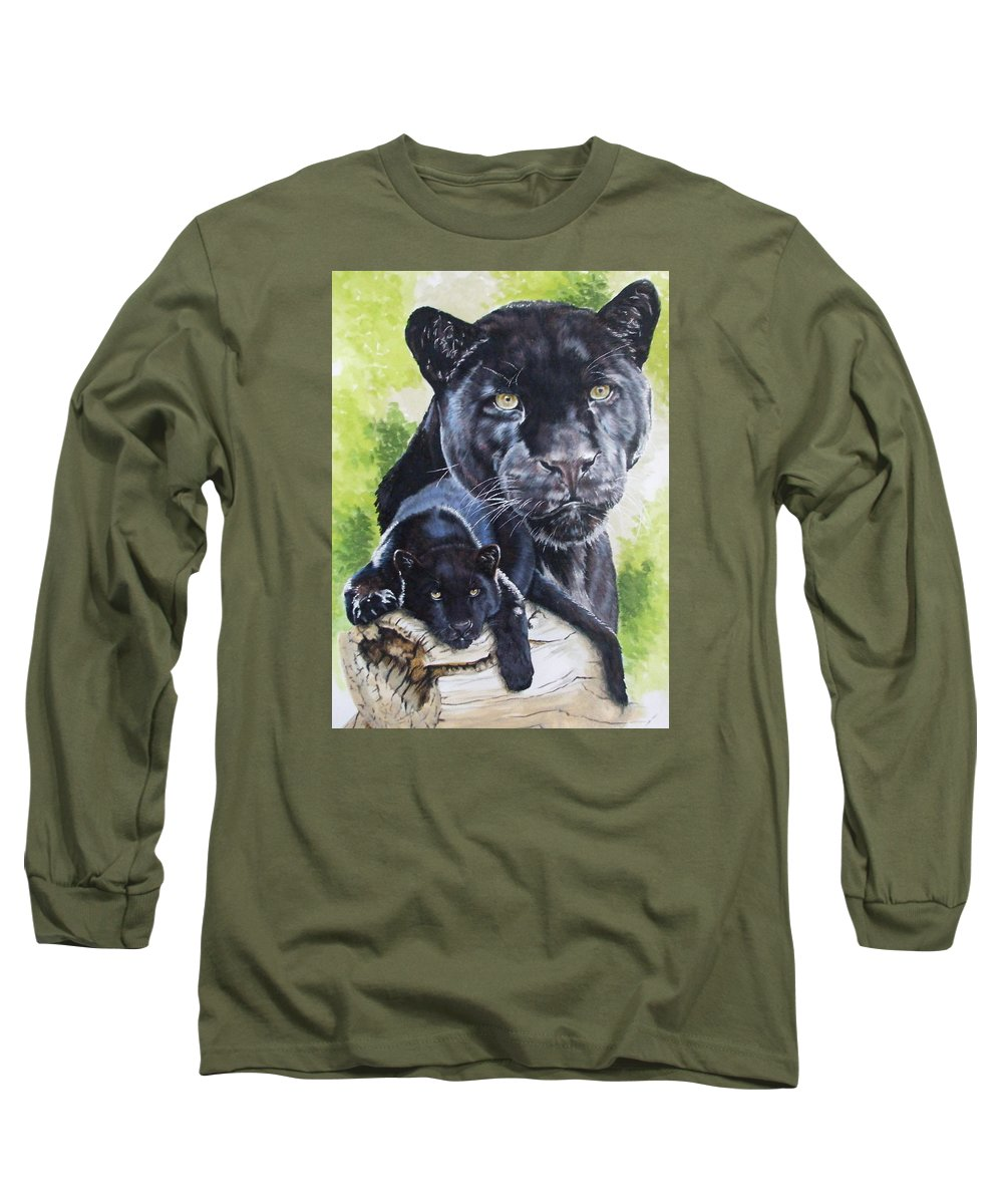 Big Cat Long Sleeve T-Shirt featuring the mixed media Melancholy by Barbara Keith