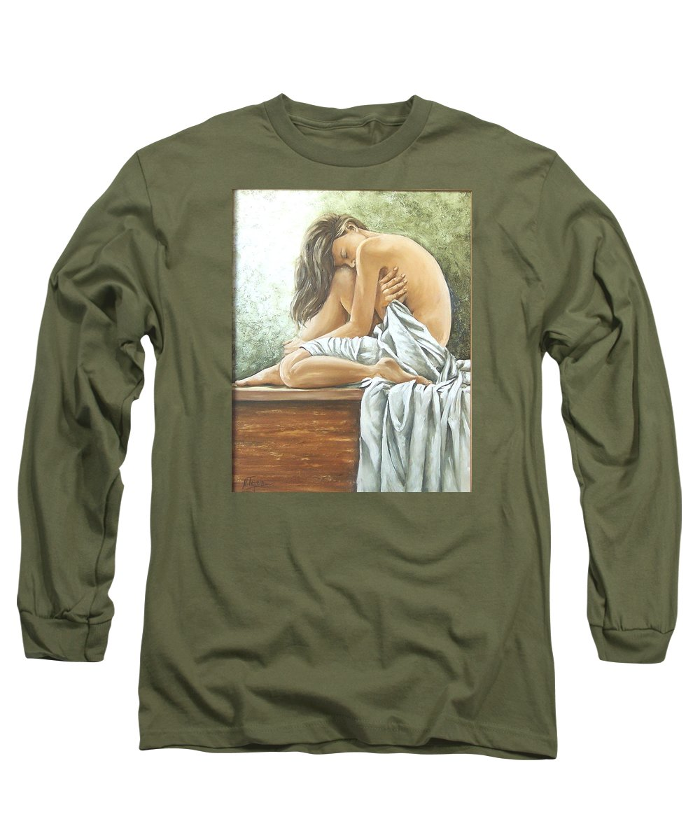 Gir Long Sleeve T-Shirt featuring the painting Melancholy by Natalia Tejera