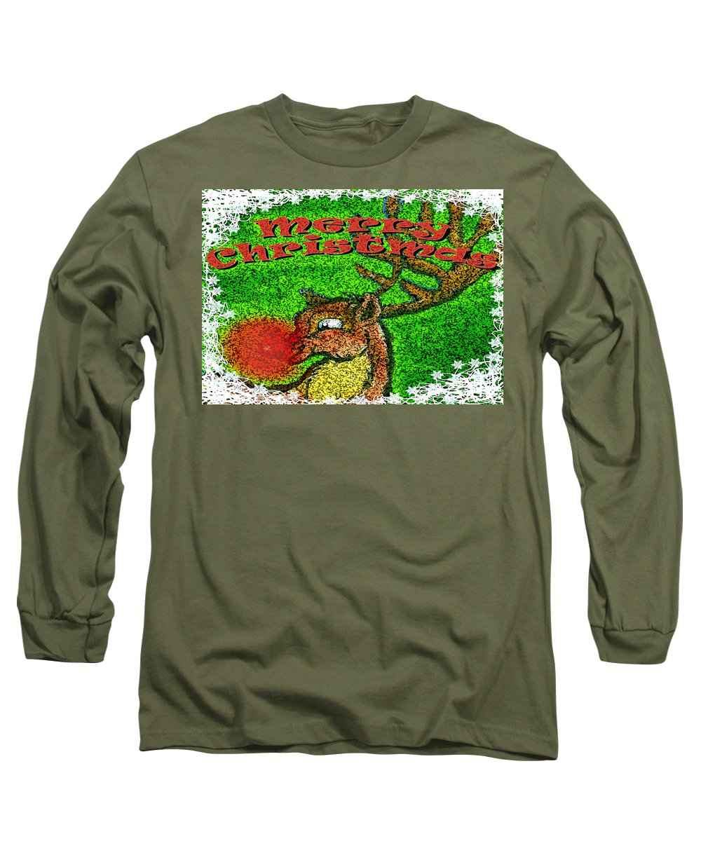Christmas Long Sleeve T-Shirt featuring the greeting card Merry Christmas by Kevin Middleton
