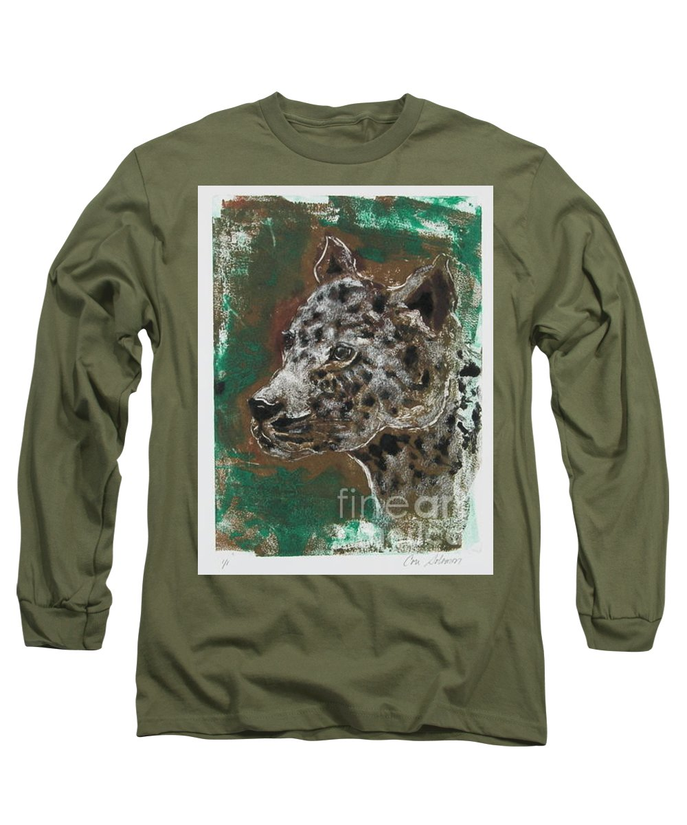 Monotype Long Sleeve T-Shirt featuring the mixed media Midnight Prowler by Cori Solomon