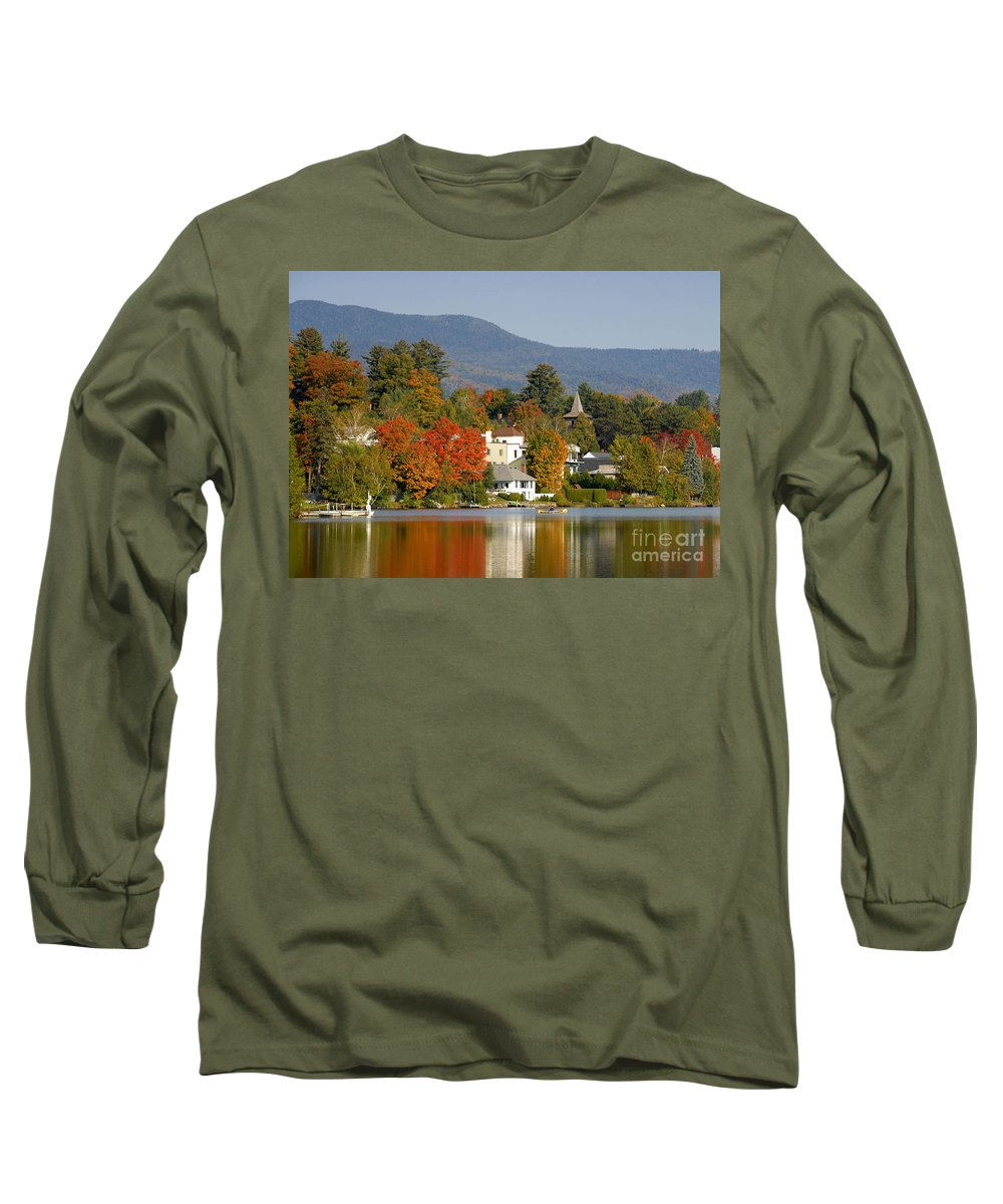 Adirondack Mountains Long Sleeve T-Shirt featuring the photograph Mirror Lake by David Lee Thompson