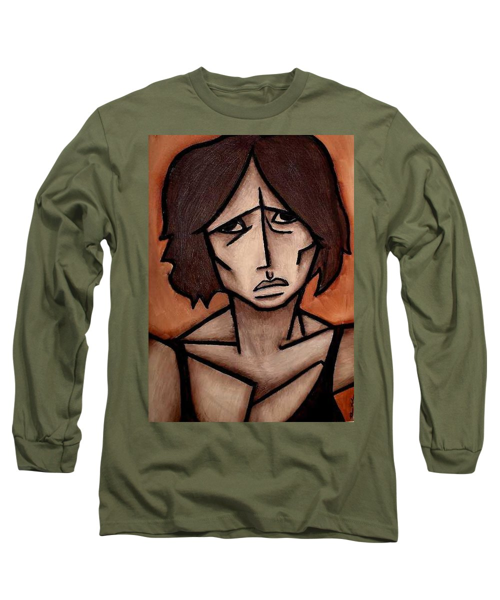Potrait Long Sleeve T-Shirt featuring the painting Missy by Thomas Valentine