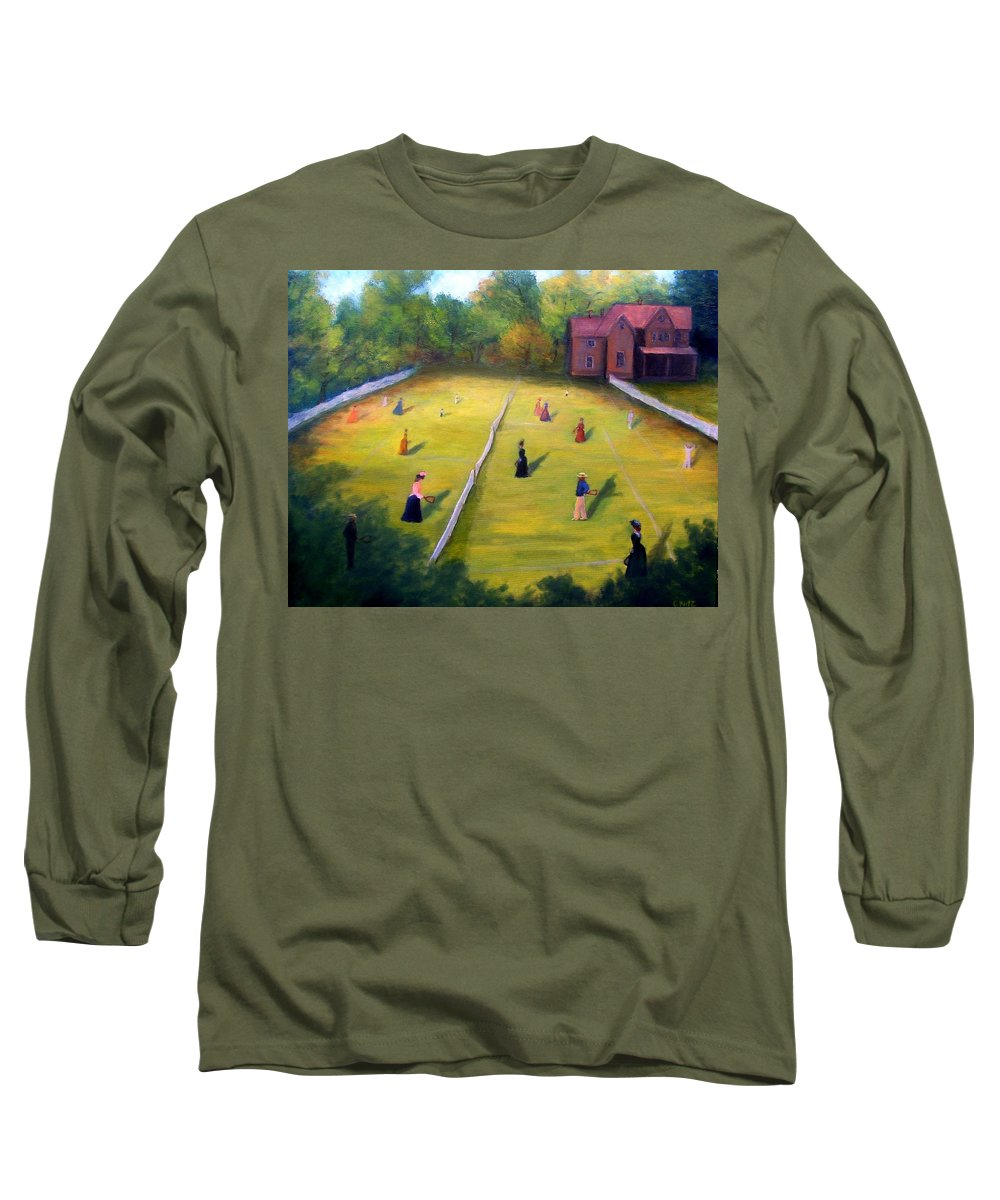 Tennis Art Long Sleeve T-Shirt featuring the painting Mixed Doubles by Gail Kirtz