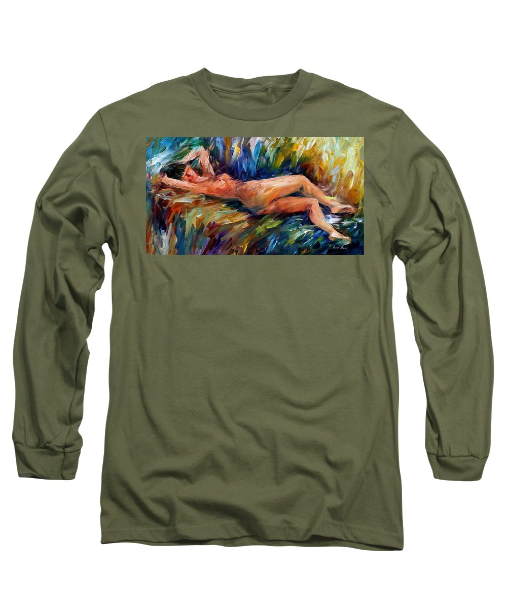 Nude Long Sleeve T-Shirt featuring the painting Moment Of Pleasure by Leonid Afremov