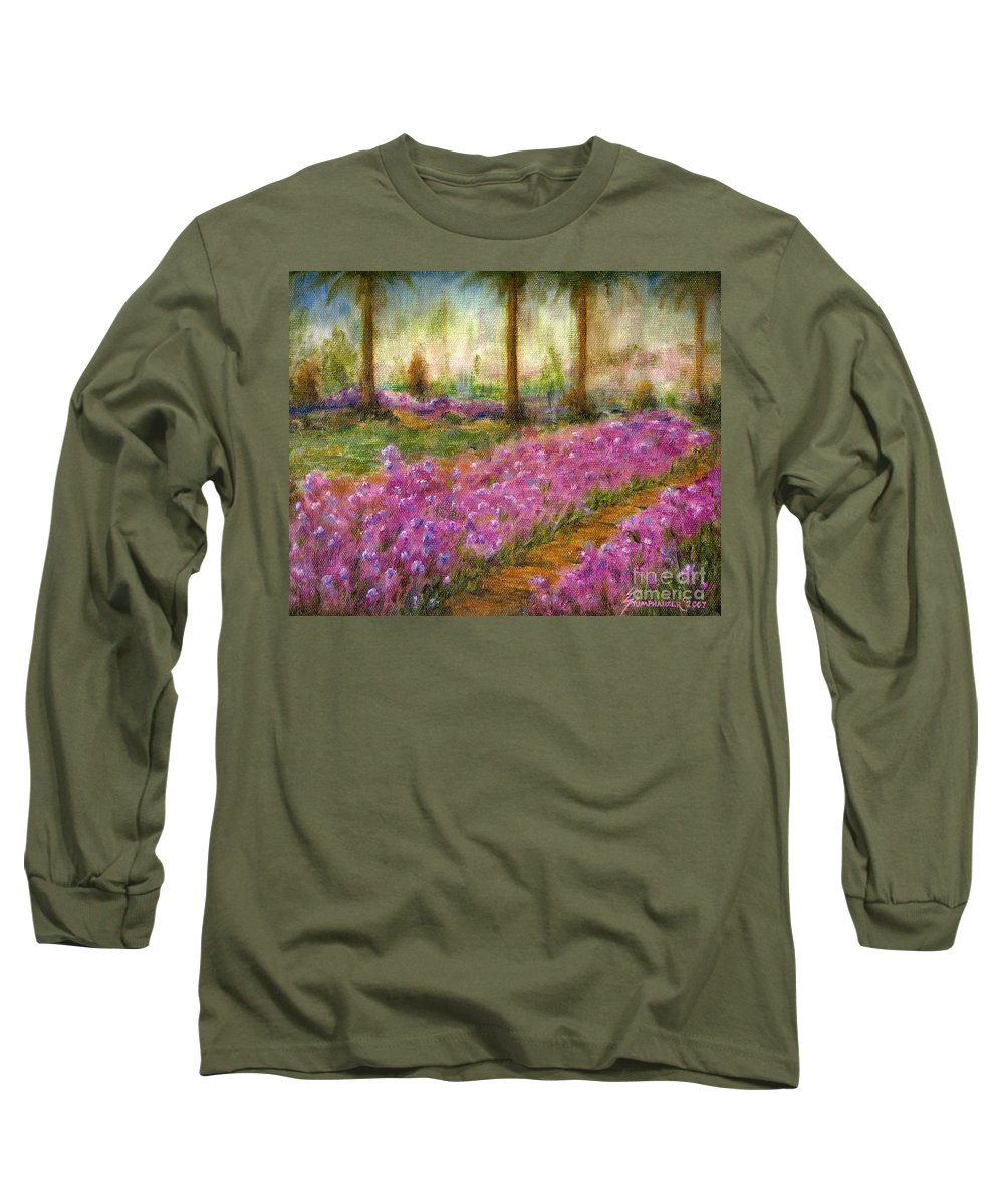 Monet Long Sleeve T-Shirt featuring the painting Monet's Garden In Cannes by Jerome Stumphauzer