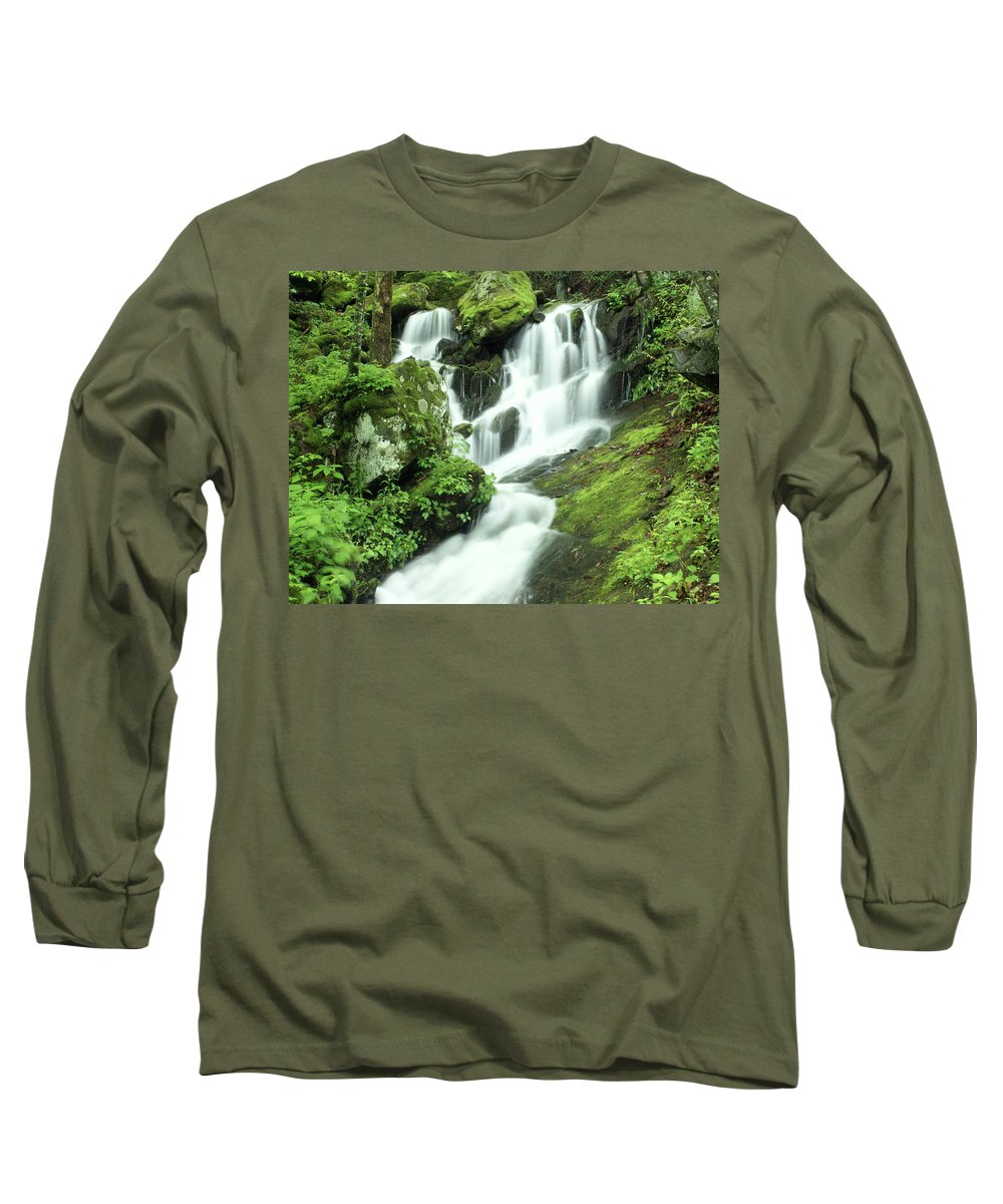 Waterfalls Long Sleeve T-Shirt featuring the photograph Mountain Falls by Marty Koch