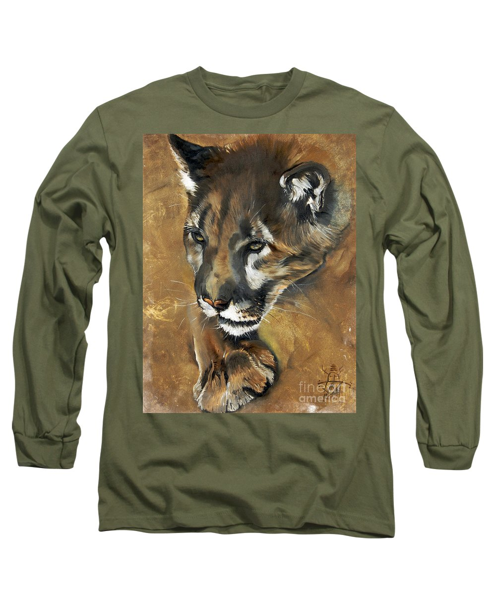 Southwest Art Long Sleeve T-Shirt featuring the painting Mountain Lion - Guardian Of The North by J W Baker