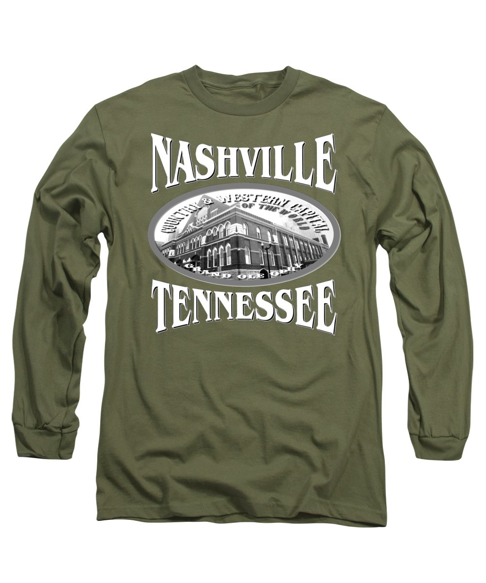 Nashville Long Sleeve T-Shirt featuring the mixed media Nashville Tennessee Design by Peter Potter