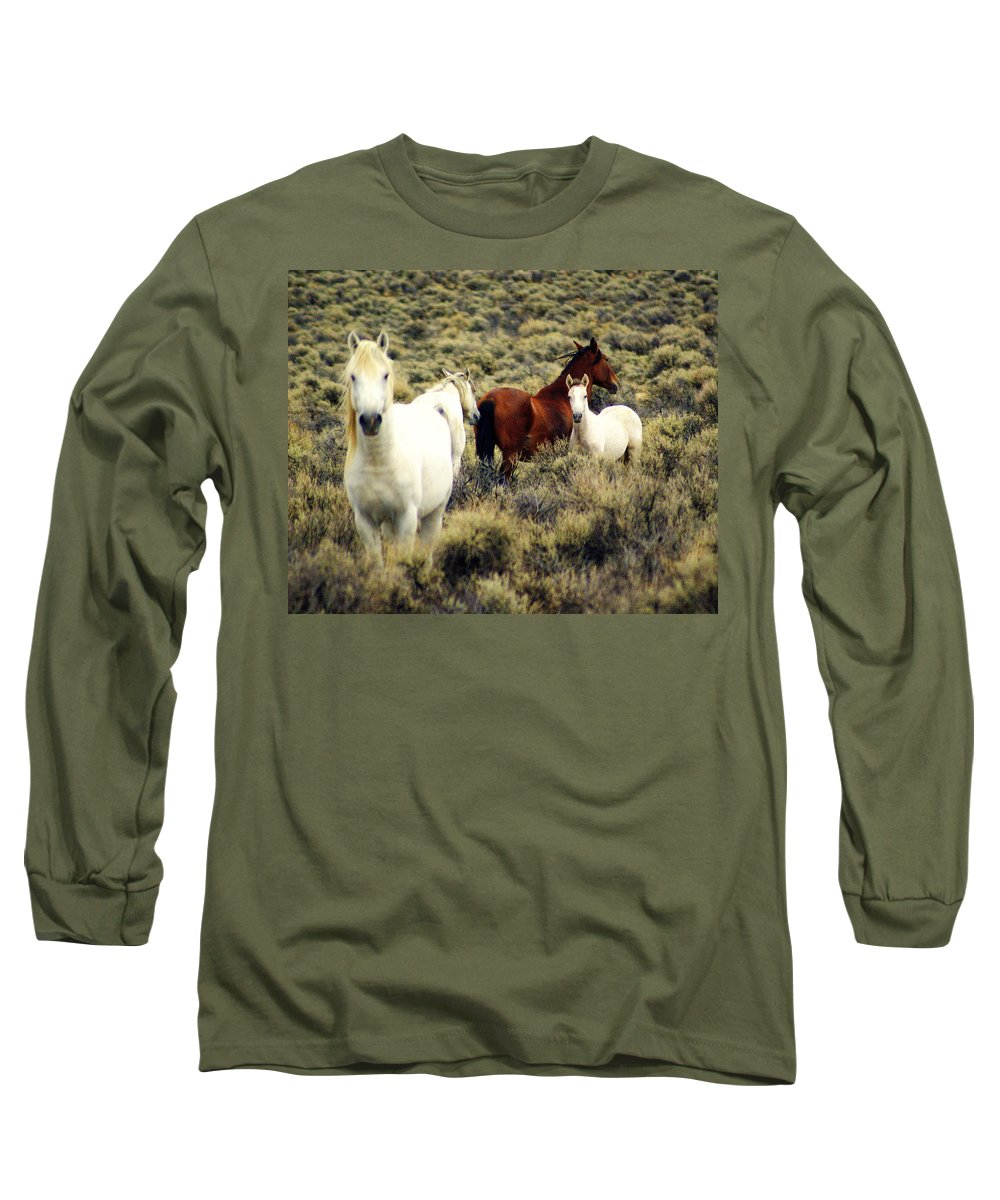 Horses Long Sleeve T-Shirt featuring the photograph Nevada Wild Horses by Marty Koch