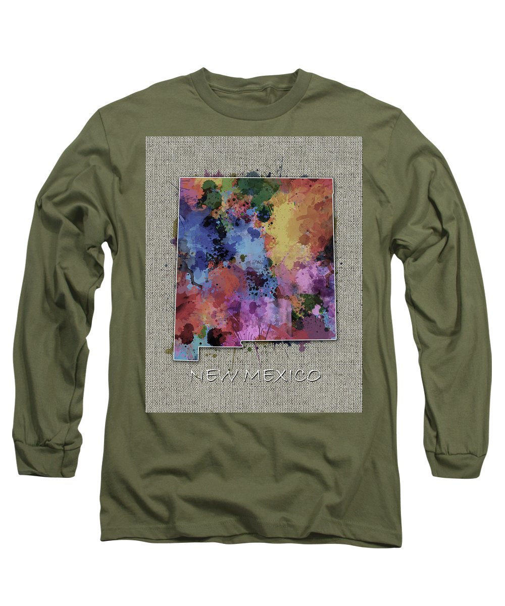 New Mexico Long Sleeve T-Shirt featuring the digital art New Mexico Map Color Splatter 5 by Bekim M